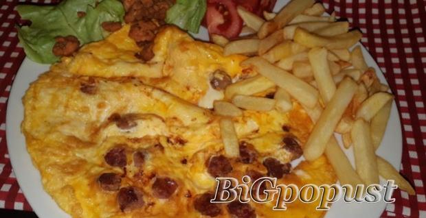 260, rsd, za, doruak, za, dvoje, omlet, sa, sirom, i, kobasicom, , pomfrit, , dve, domae, kafe,