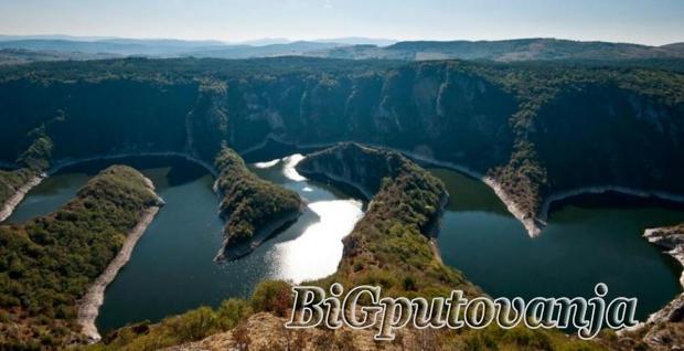 kanjon, reke, uvac, , splavarenje, jezerom, i, poseta, ledene, peine
